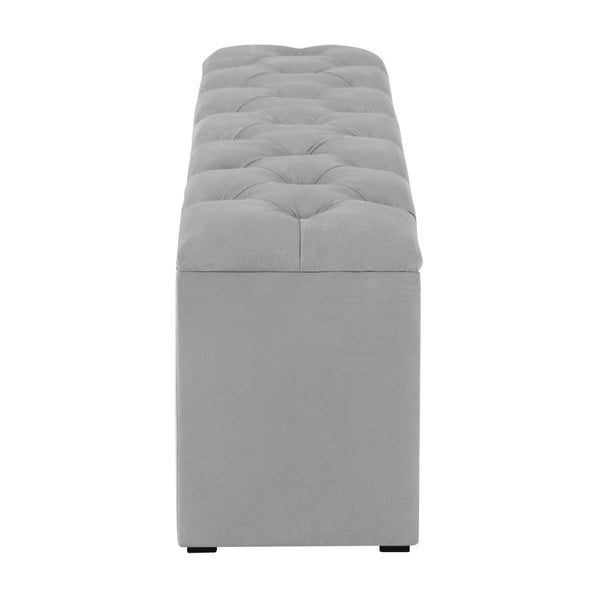 Šedý otoman k posteli s úložným prostorem Kooko Home Manna, 47 x 140 cm