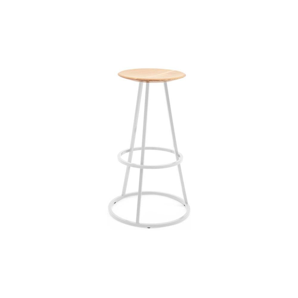 Barová stolička s dubovou deskou a světle šedou kovovou konstrukcí HARTÔ Gustave, výška 65cm