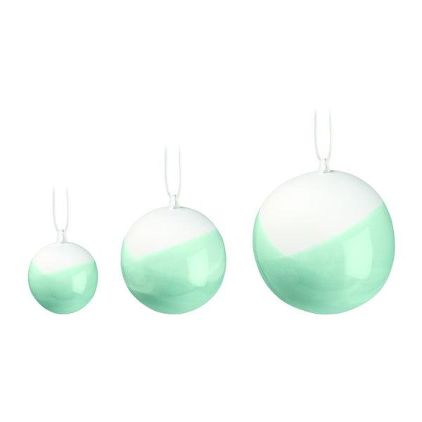 Set 3 globuri de Crăciun din porțelan chinezesc Kähler Design Nobili, verde