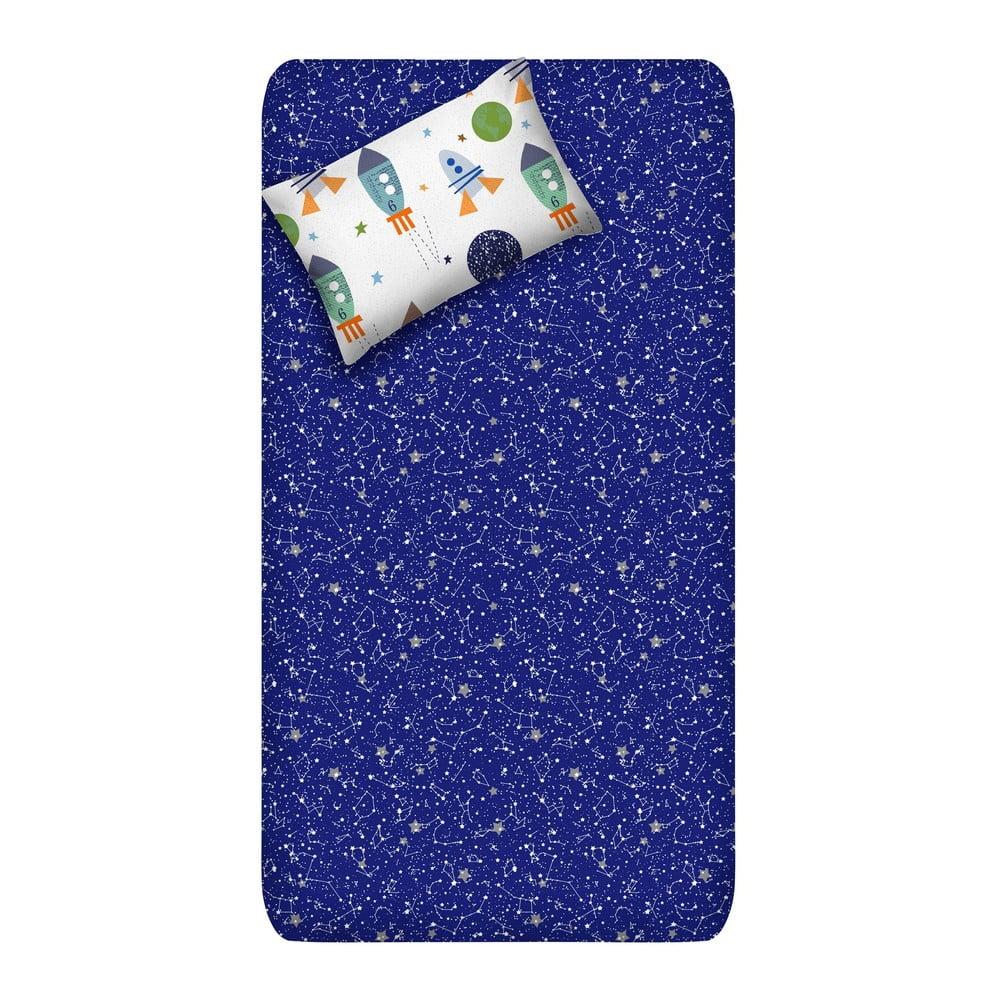 Set neelastického prostěradla a povlaku na polštář EnLora Home Spacex Dark Blue, 160 x 240 cm