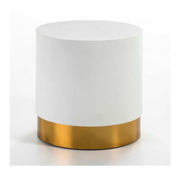 Bílý odkládací stolek s detailem ve zlaté barvě Thai Natura, ⌀46cm