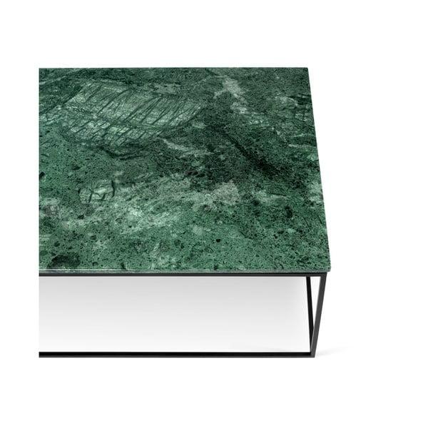 Zelený mramorový konferenční stolek s černými nohami TemaHome Gleam, 120 cm