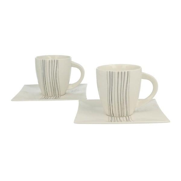 Set 2 porcelánových hrnků s podšálky Silver Line