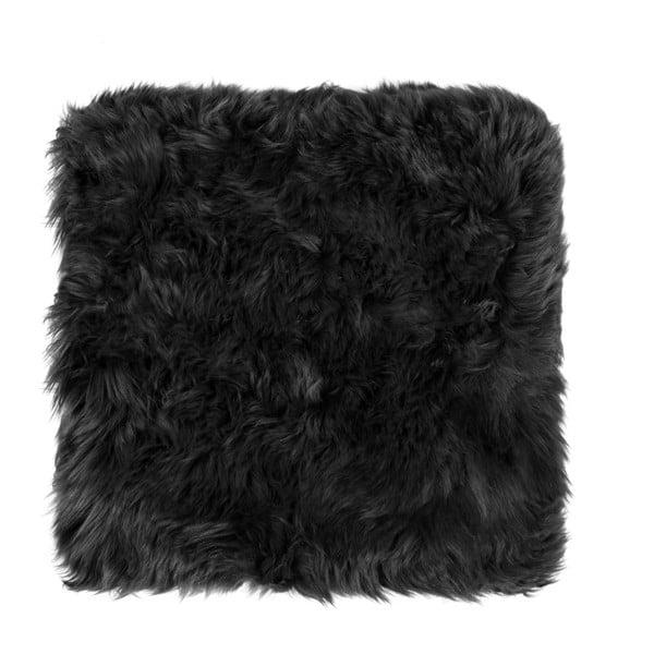 Černý podsedák z ovčí kožešiny na jídelní židli Royal Dream Zealand, 40x40cm