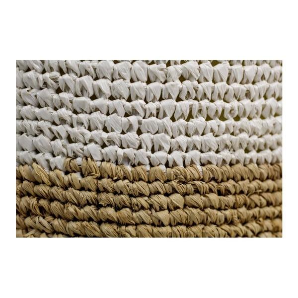 Puf z palmového dřeva s bílým detailem HSM collection Raffia, 36 x 45 cm