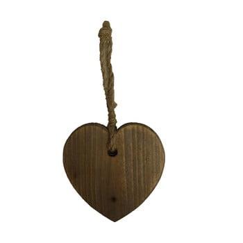 Decorațiune din lemn suspendată în formă de inimă Antic Line Coeur, maro