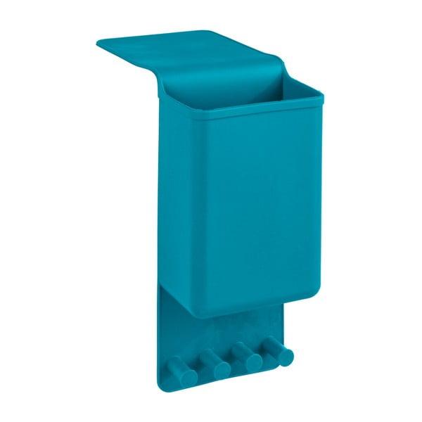 Modrý silikonový závěsný organizér s háčky Wenko Ampio Single