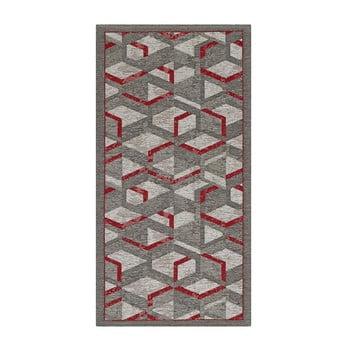 Traversă Floorita Hypnotik, 55 x 140 cm, gri-roșu
