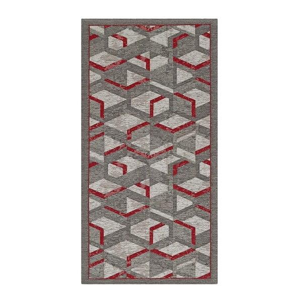 Šedo-červený běhoun Floorita Hypnotik, 55 x 240 cm