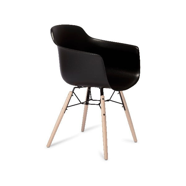 Scaun cu picioare din lemn de fag Furnhouse Jupiter, negru