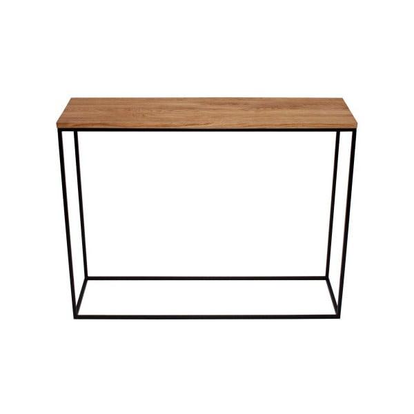 Černý konzolový stolek s deskou z dubového dřeva take me HOME Aren, 100x30cm
