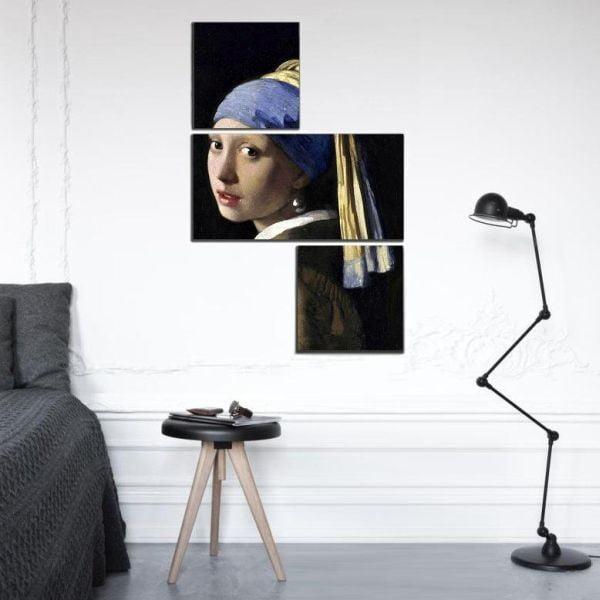 3dílný obraz Asymetric Pearl Earring, 60x90 cm