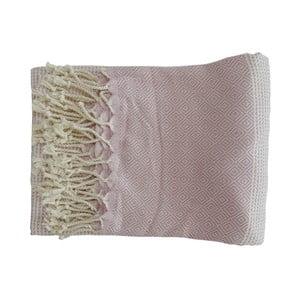 Světle růžová ručně tkaná osuška z prémiové bavlny Homemania Damla Hammam,100x180 cm