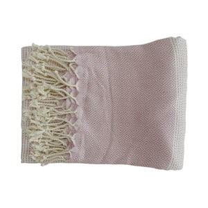Prosop țesut manual din bumbac premium Damla, 100 x 80 cm, roz deschis