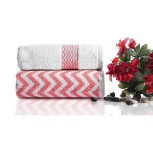 Set 2 prosoape bumbac Ladik Ella,50x90cm, roz - alb