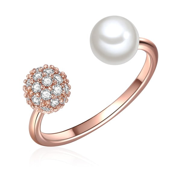 Prsten v barvě růžového zlata s bílou perlou Perldesse Perle, vel. 54