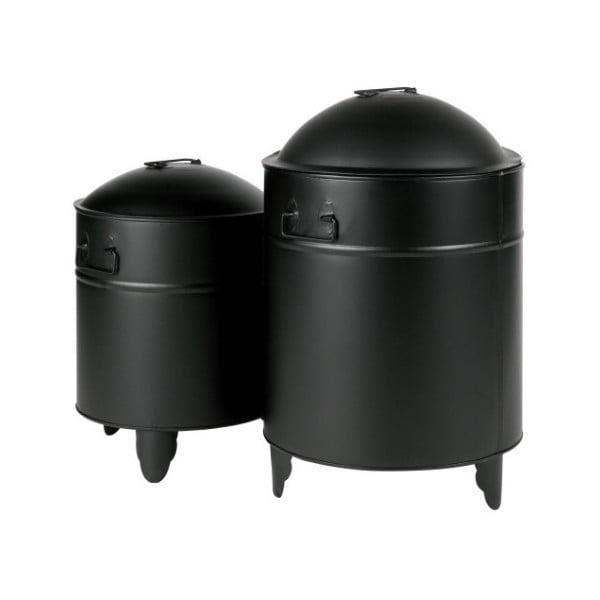 Sada 2 černých úložných boxů z kovu WOOOD