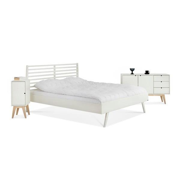 Bílá ručně vyráběná postel z masivního březového dřeva Kiteen Notte, 160x200cm