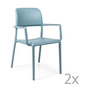 Sada 2 modrých zahradních židlí Nardi Riva