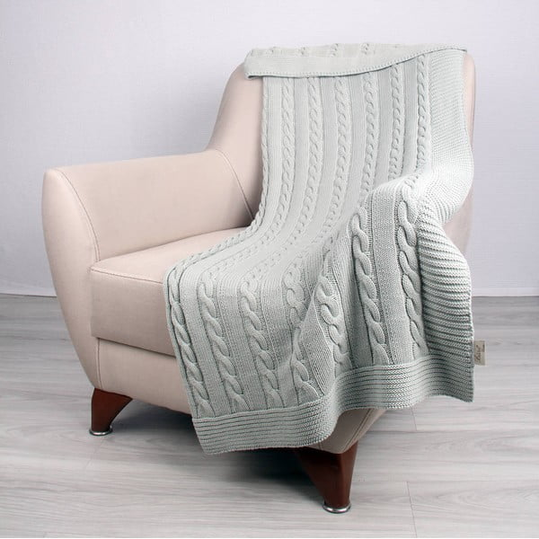 Miętowy koc bawełniany Carla, 130x170 cm