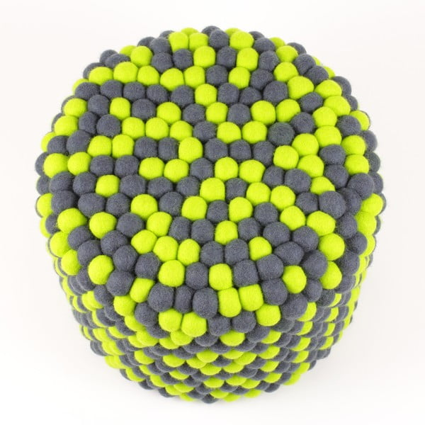 Ručně vyrobený kuličkový puf Match Point, kulatý