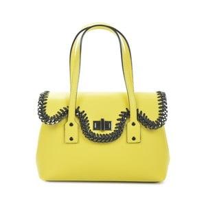 Žlutozelená kožená kabelka Mangotti Bags Agata