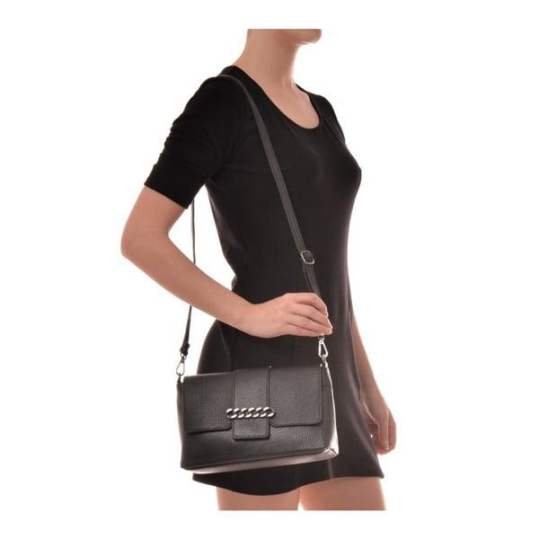 Černá kožená kabelka Mangotti Bags Baso