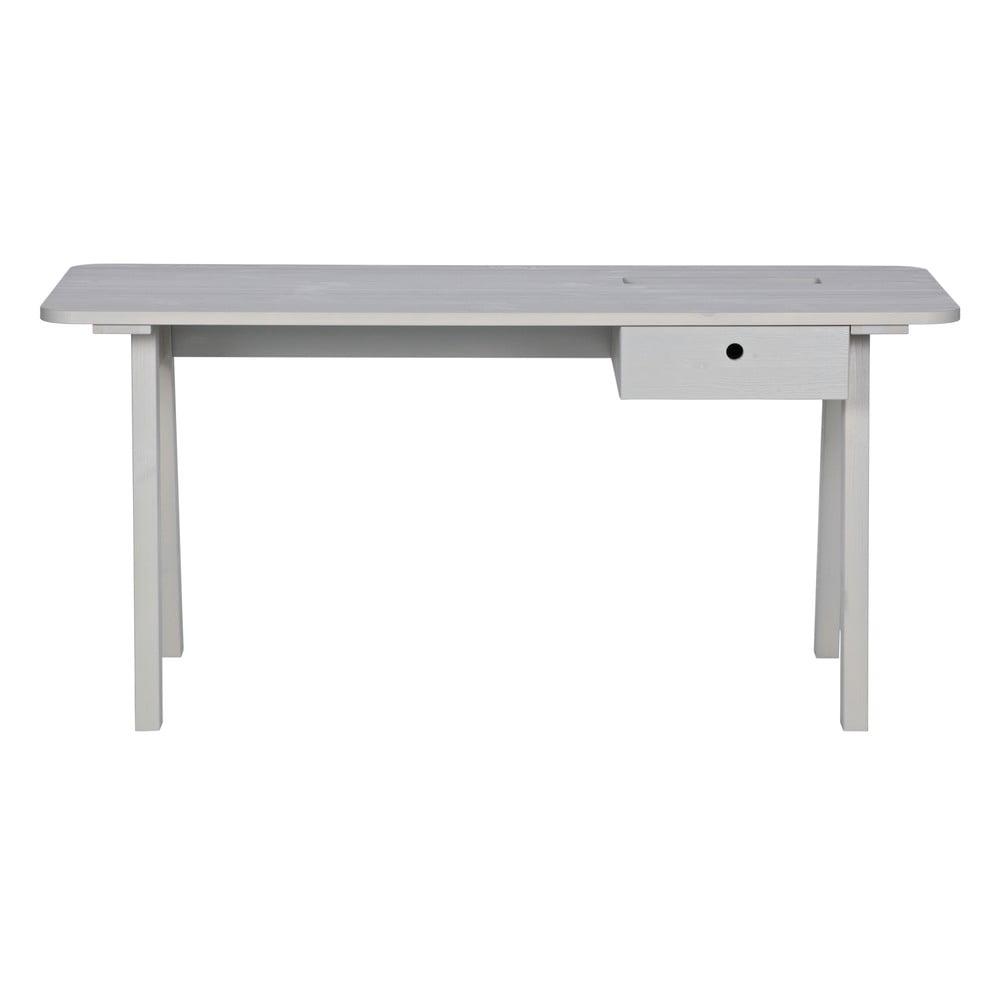 Bílý pracovní stůl z borovicového dřeva WOOOD Sammie