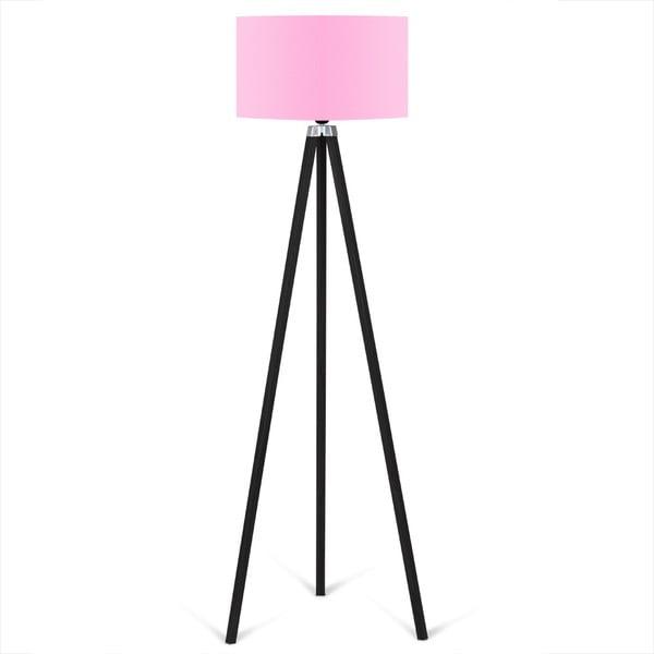 Černá volně stojící lampa se světle růžovým stínítkem lampa Kate Louise Siyah