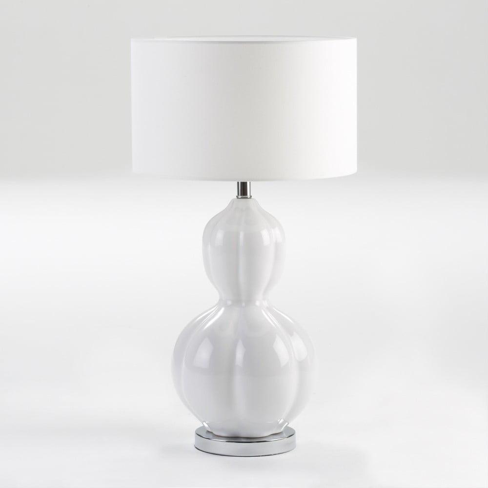 Bílá kermická stolní lampa bez stínidla Thai Natura Eldert