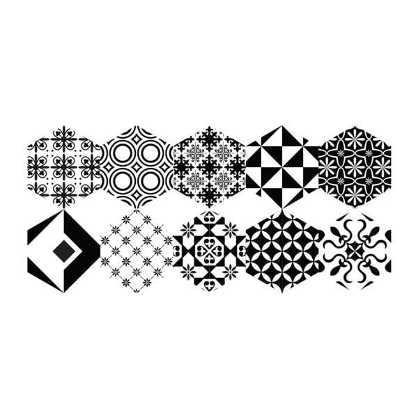 Sada 10 samolepek na podlahu Ambiance Floor Stickers Hexagons Nemesio, 40 x 90 cm