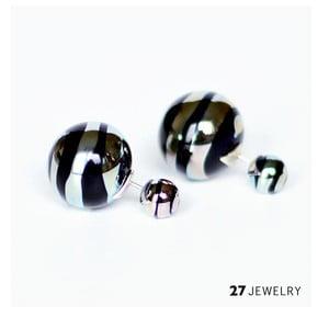 Silver Swirl oboustranné náušnice ze skla