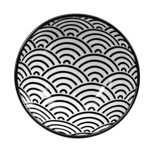 Černo-biely tanier Tokyo Design Studio Nippon Wave, ø 9,5 cm