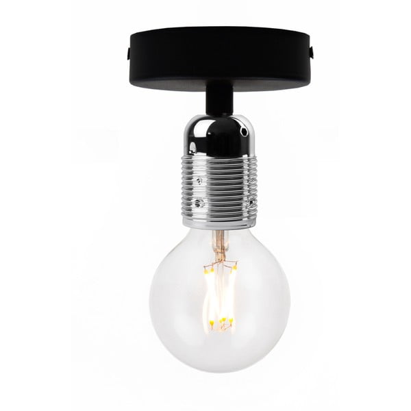 Černé stropní svítidlo se stříbrnou objímkou Bulb Attack Uno Basic