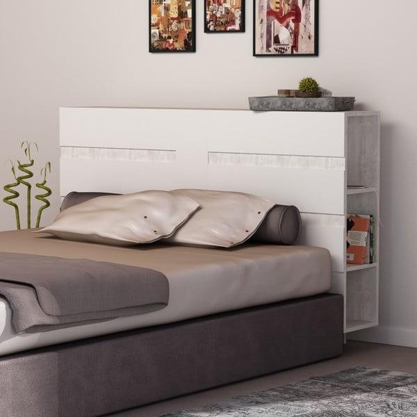 Bílé čelo postele s úložným prostorem Homitis Eddo