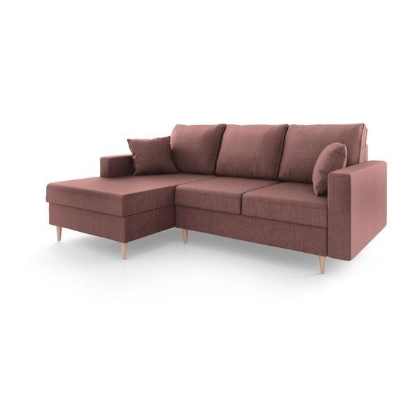 Jasnobordowa 4-osobowa sofa rozkładana Mazzini Sofas Aubrieta, lewostronna