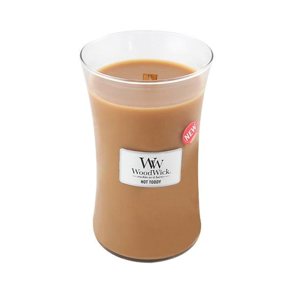 Svíčka s vůní skořice, muškátového oříšku a karamelu WoodWick Horký punč, dobahoření130hodin