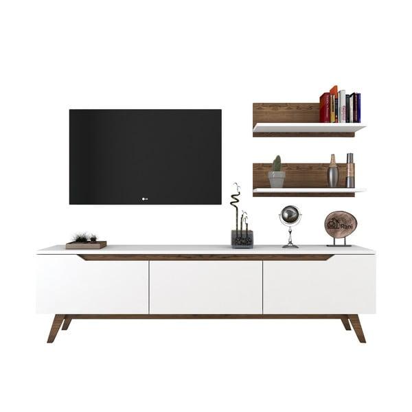 Set comodă TV și 2 etajere de perete Rani White, alb-natural