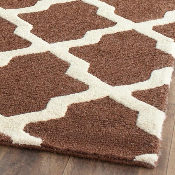 Hnědý vlněný koberec Safavieh Ava, 182 x 76 cm