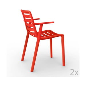 Sada 2 červených zahradních židlí s područkami Resol Slatkat