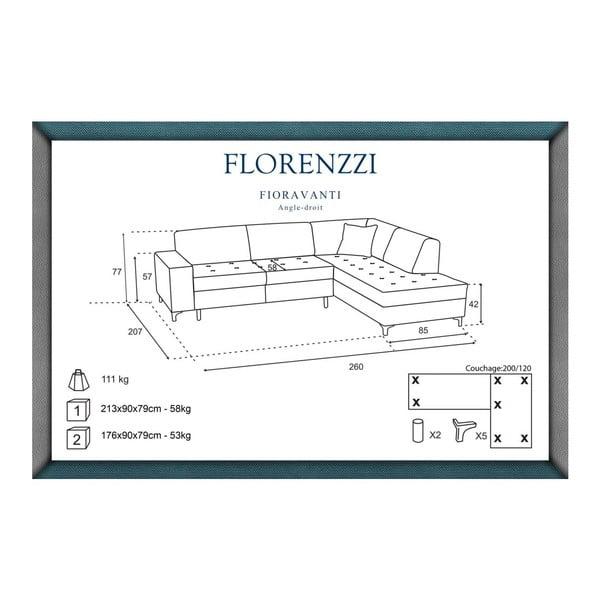 Vínově červená pohovka Florenzzi Fioravanti s lenoškou na pravé straně