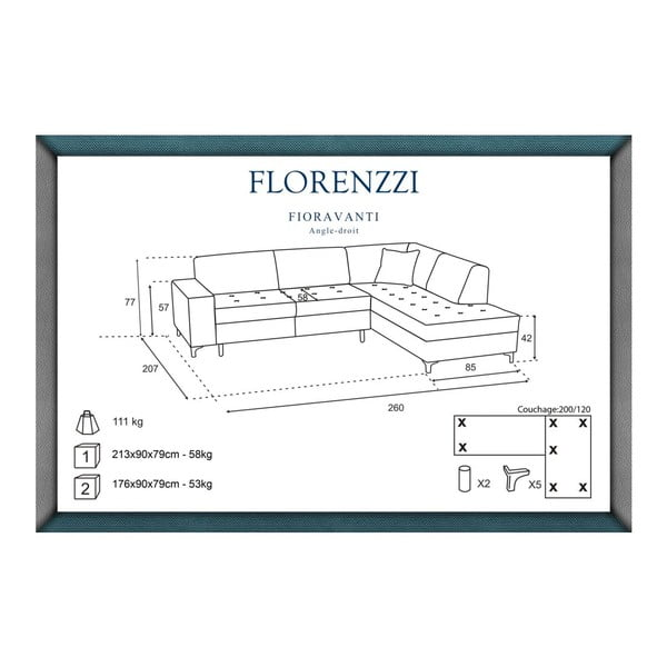 Tmavě šedá pohovka Florenzzi Fioravanti s lenoškou na pravé straně