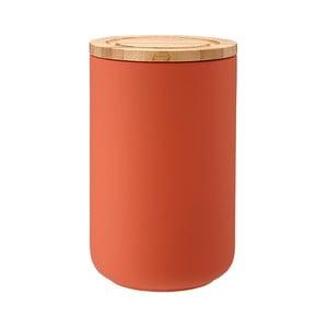 Recipient din ceramică cu capac din lemn de bambus Ladelle Stak, înălțime 17 cm, portocaliu