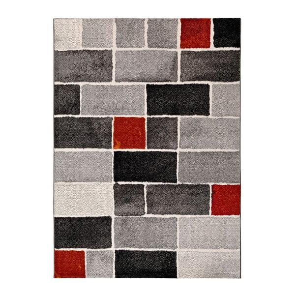 Šedo-červený koberec Universal Lucy Dice, 140x200cm