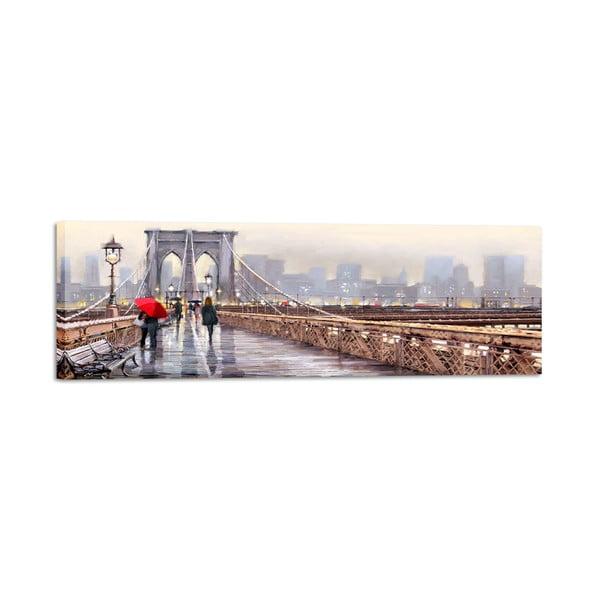 Canvas Watercolor New York Bridge fali kép, 45 x 140 cm - Styler