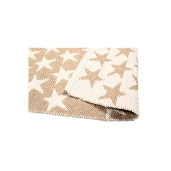 Oboustranný koberec Beige Stars, 135x65 cm