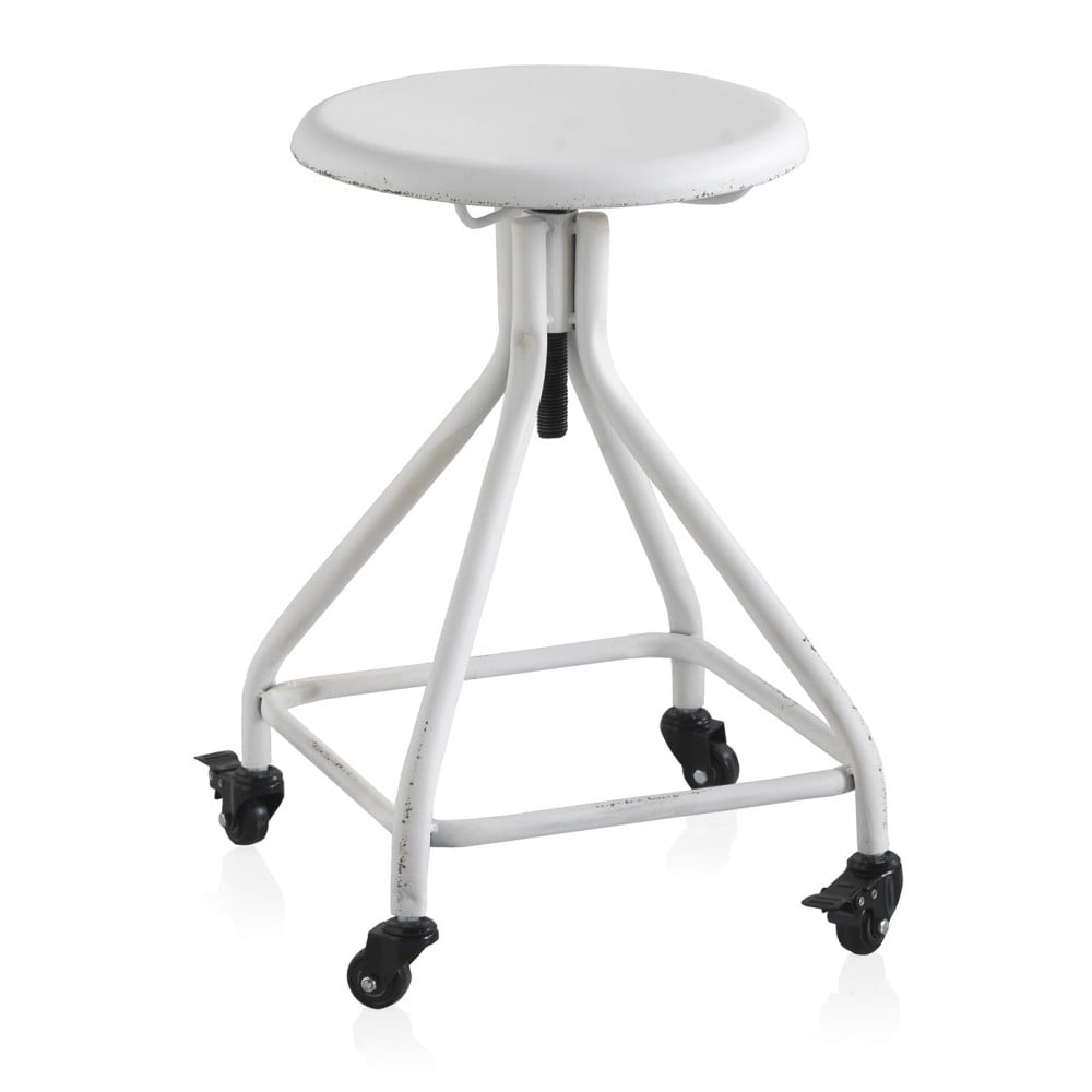 Bílá kovová pojízdná stolička na kolečkách s nastavitelnou výškou Geese Industrial Style
