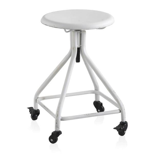 Scaun din metal cu roți și înălțime reglabilă Geese Industrial Style, alb