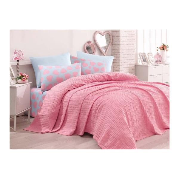 Ela egyszemélyes pamut ágytakaró lepedővel és párnahuzattal, 160 x 220 cm