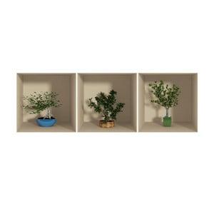Sada 3 samolepek s 3D efektem Fanastick Small Trees
